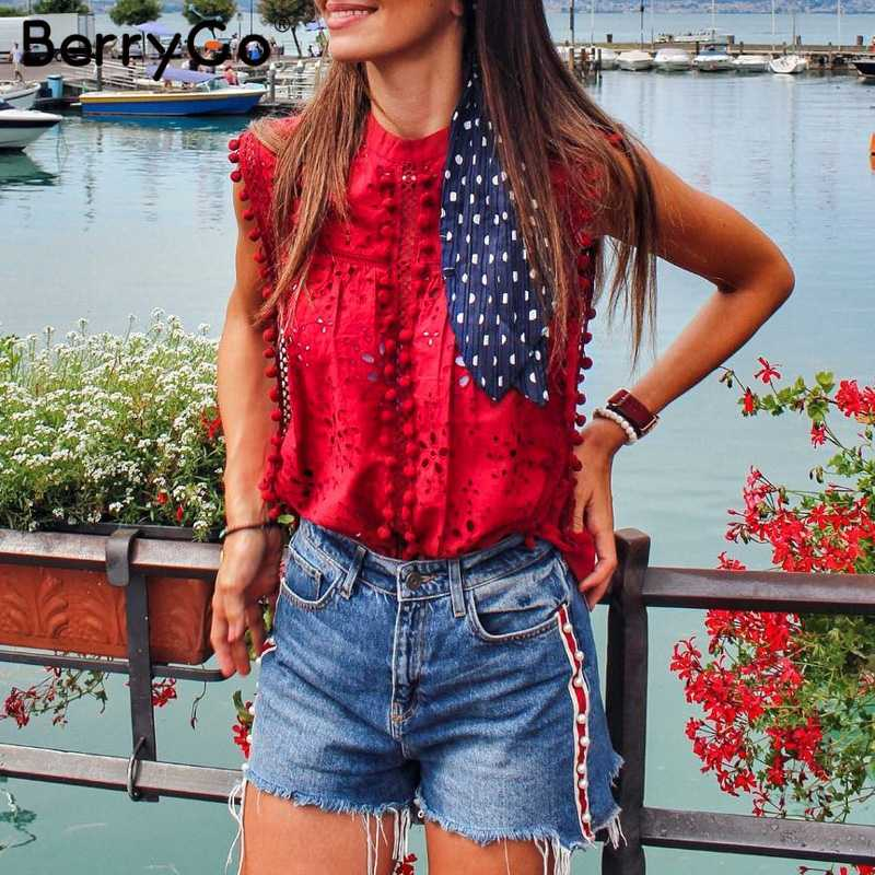 BerryGo Elegant streetwear tank women top Cotton embroidery red shirts feminina sexy top Stand neck tasssel  pompon top female