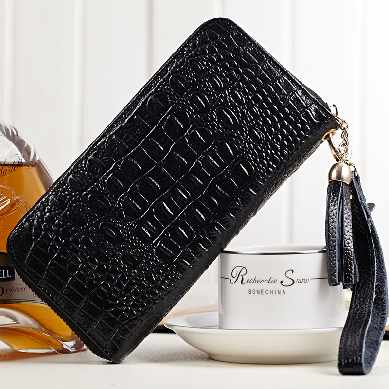 Women Crocodile Pattern Wallet Multifunctional Zipper Purse Long Style Closure Huge capacity Fashion Handbag More Card Slots ouluoer thailand imported crocodile skins the lady women purse with a purse and a long women wallet