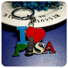 GRANDBLING French Tourist Souvenir Gift Whosale I Love Leaning Tower of Pisa Key Chain Pendant