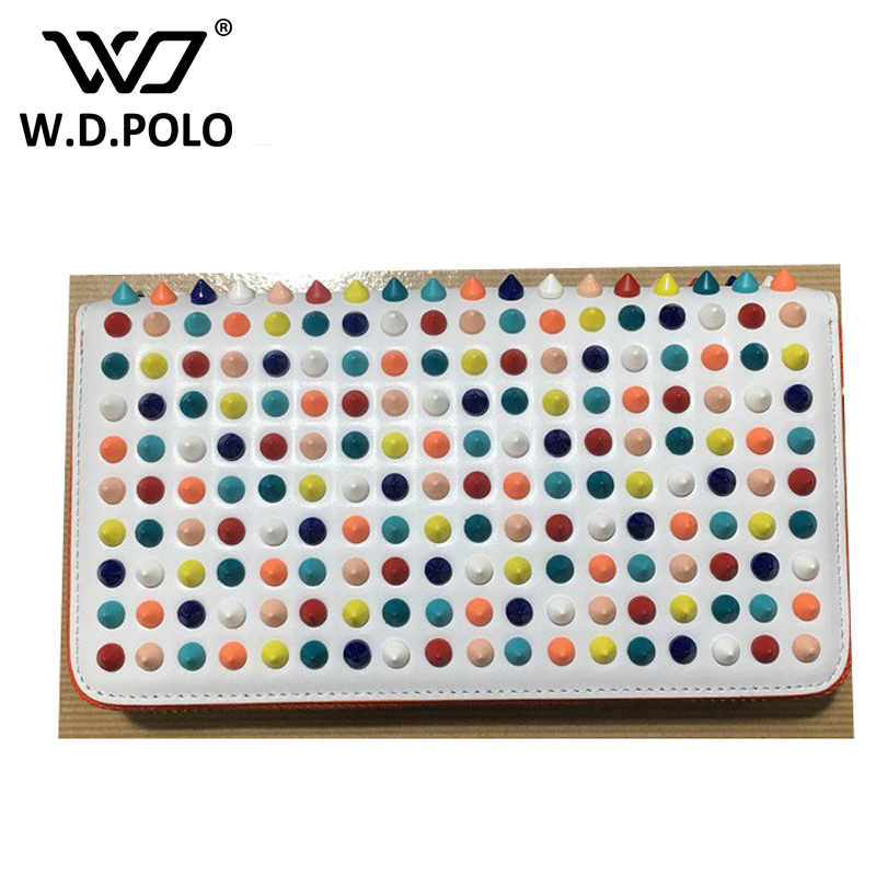 WDPOLO New color rock stud women genuine leather wallet high chic brand design lady standard wallets easy clutch hand bag brand polo genuine new women golf bag waterproof capacity lady standard ball bag embroidered package contain full set of club