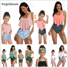 2019 New Swimsuit Mother Daughter Clothes Printing piece double lotus leaf Parent-Child Swimwear Matching Family Outfits