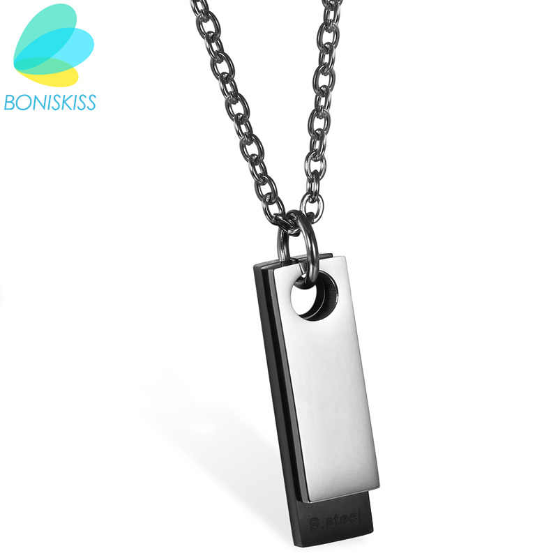 Boniskiss New Fashion Men Boys Dog Tag Geometric Necklace Young Brief Collares Grandes De Moda Pendant Jewelry(Accept Engrave)