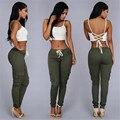 Summer Casual Pants High Waist Shiny Pencil Capris Ladies Pants Solid Shoe Army Khaki Multi-pocket Elastic Pants
