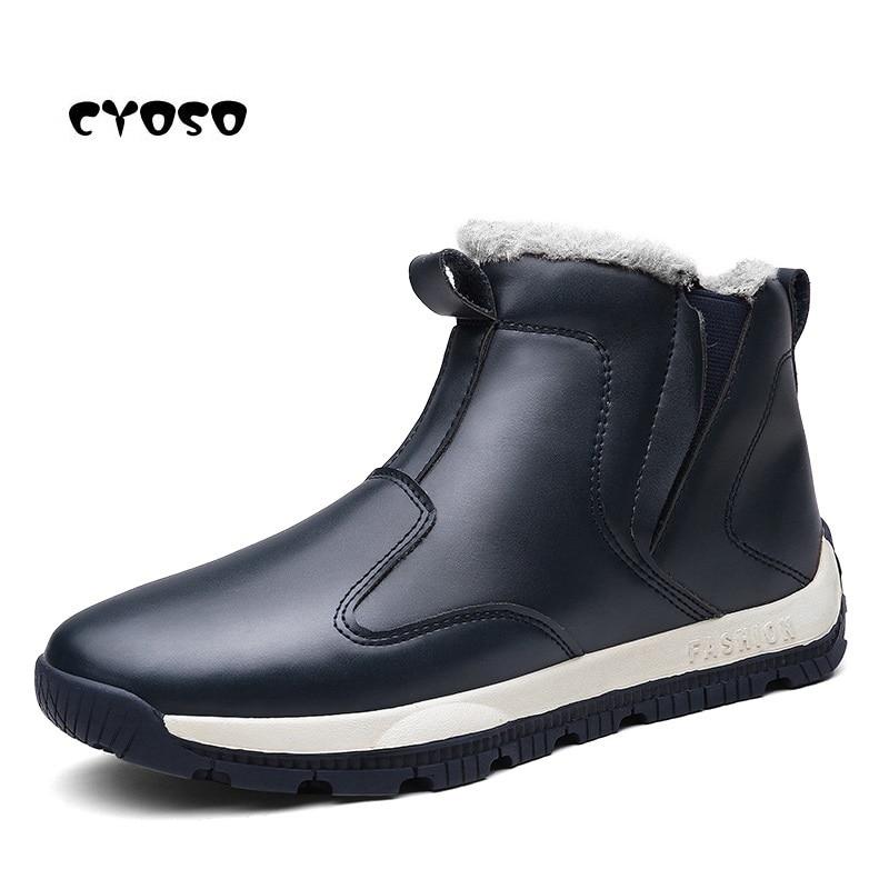 316d780553505c Casual Cyoso Hommes Vintage Haute Style Cheville Chaussures Mode D'hiver  Brown cut Marque noir Bottes ...