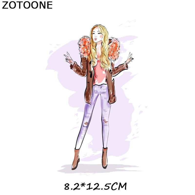 """ZOTOONE железные нашивки на одежду Diy полоски 3D аппликация """"Девочка"""" теплопередача для украшения из ткани наклейки для детей G - Цвет: 238"""