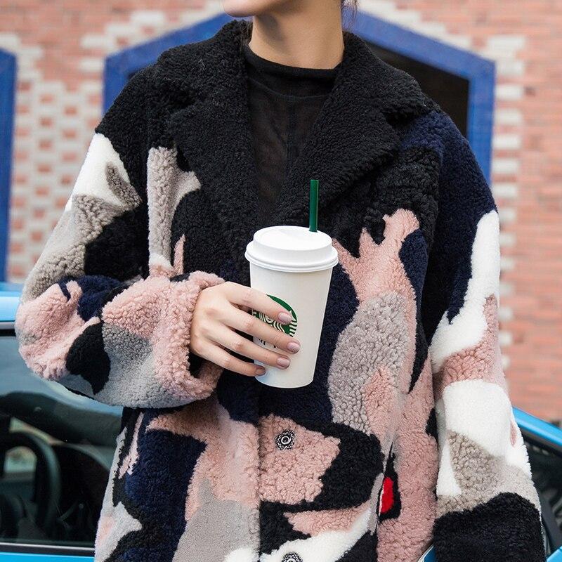 Automne Vintage Vêtements 2018 Tops Picture Femmes Zt1144 Laine Double Color Manteau Manteaux De face En D'agneau Véritable Fourrure Hiver Veste Coréenne dCQrtsh