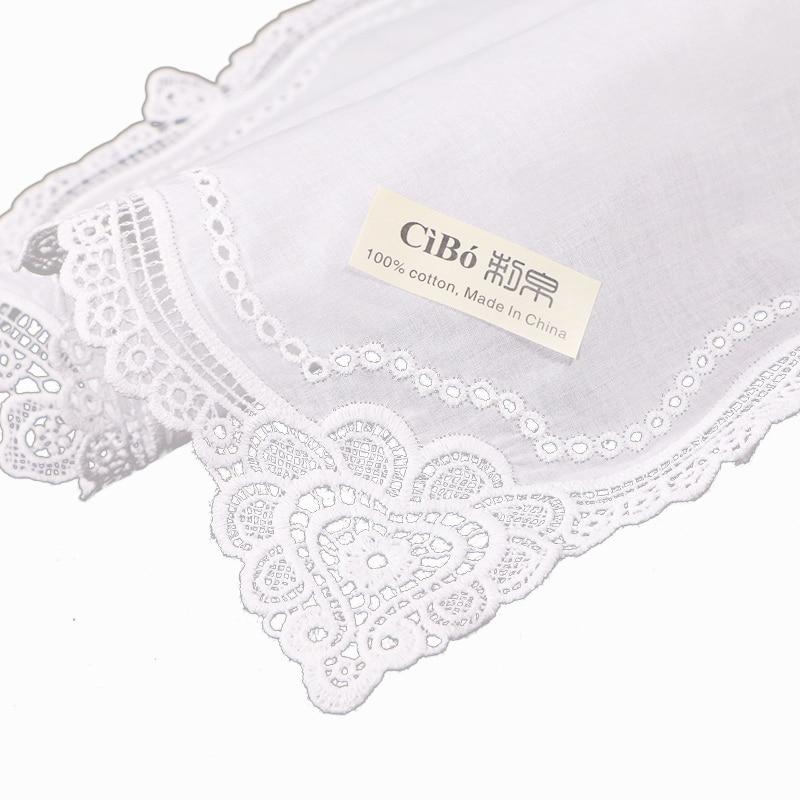 Premium blanco algodón pañuelos 120 unids/pack blanco ganchillo ...