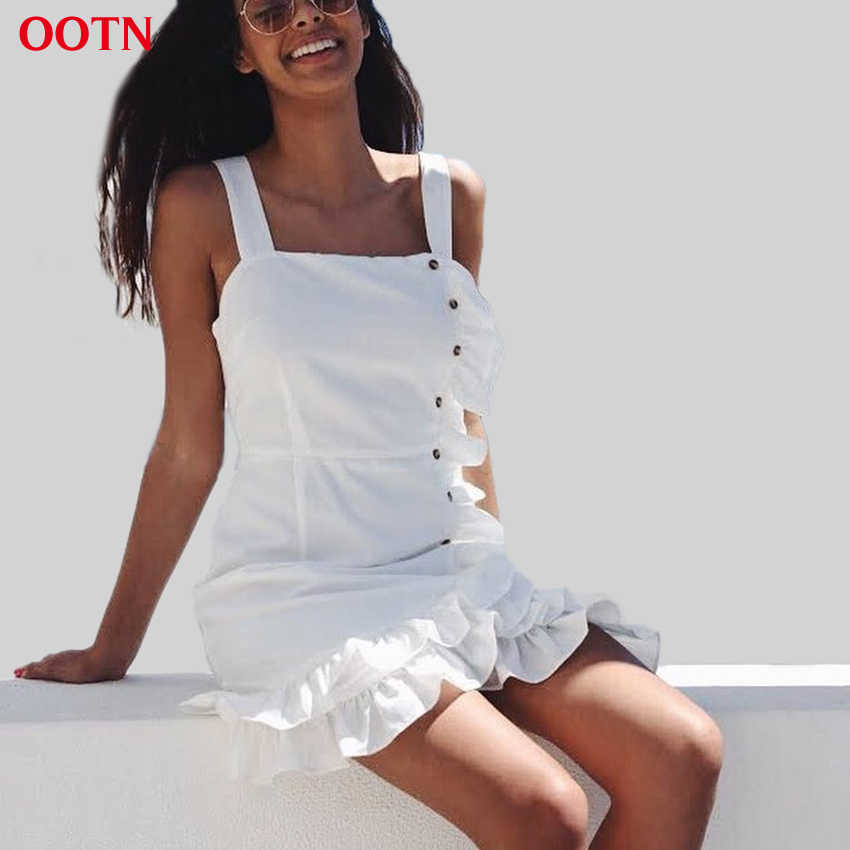 4e037c321b35 OOTN белый мини-платье с оборками для женщин ремень сарафан без рукавов и  пуговицы подпушка