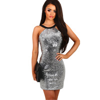 VITIANA Brand Womens Sequins Halter Backless Short Dress Silver Paillette Bodycon Slim Sexy Clubwear Party Mini