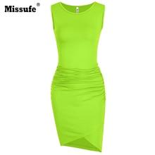 Missufe Green Bandage Pencil Dress Vestidos Elegant Robe Femme T Shirt Tank Sundress Summer Ruched Office Bodycon Women's Dress