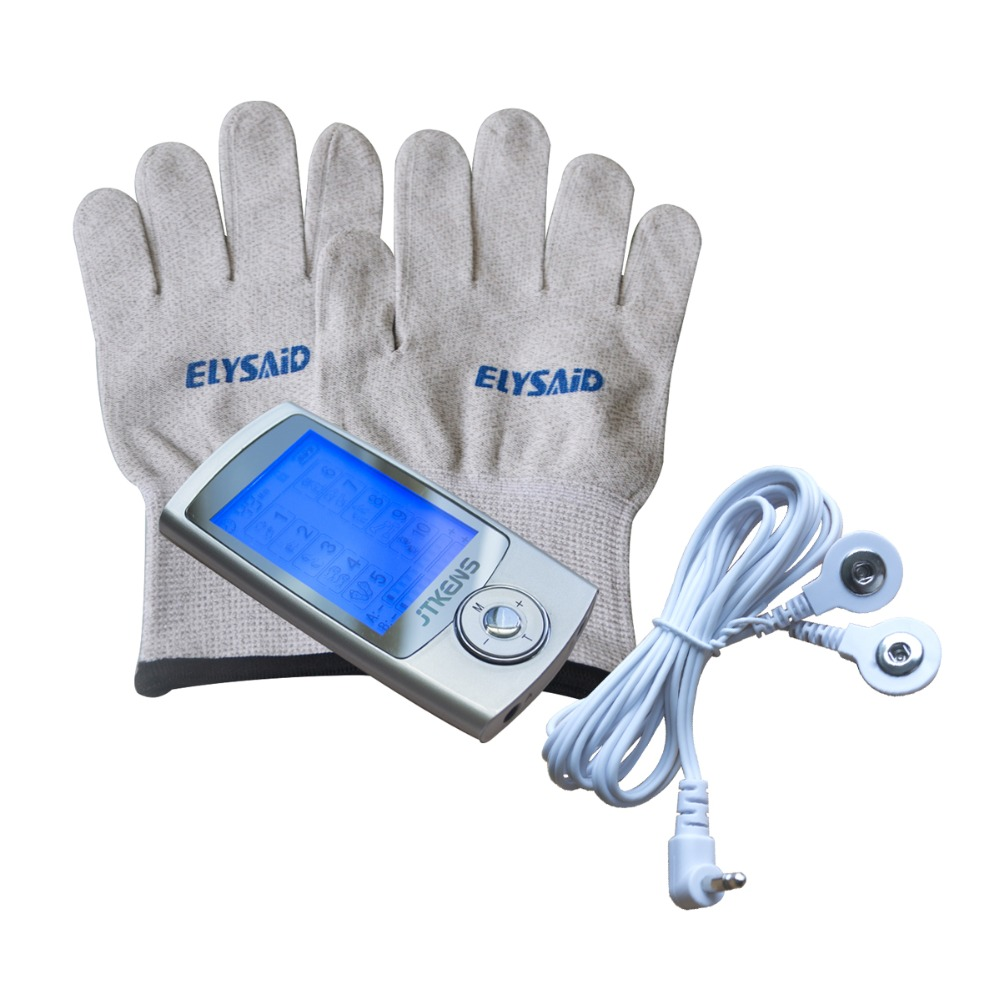 Electrical Stimulator Full Body Relax Muscle Massager 16 Mode Pulse Tens Acupuncture Therapy Device With Conductive Gloves Sets tens therapy 16mode electrical stimulator full body relax muscle therapy massager with conductive gel and conductive glove