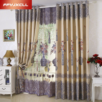 Peony Cotton Linen Europe Luxury Embroidered Tulle For living Room Bedroom Blackout Curtain Window Treatment Drapes