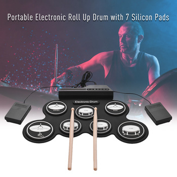 Electric Drum for Children Roll up Electronic Drum Set 7 Silicon Pads Built-in Speaker USB Perfect Gifts for Kids Music Learning