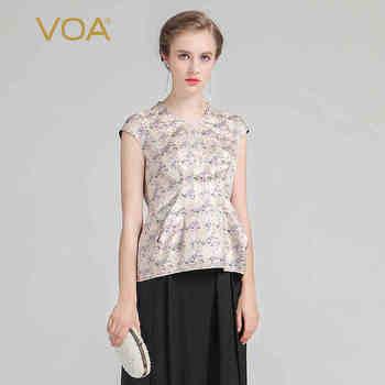 VOA 2020 Summer Silk Jacquard Short Sleeve Vintage Women Tops Fashion Plus Size Elegant Beige Print Slim Office T Shirt BSX00101