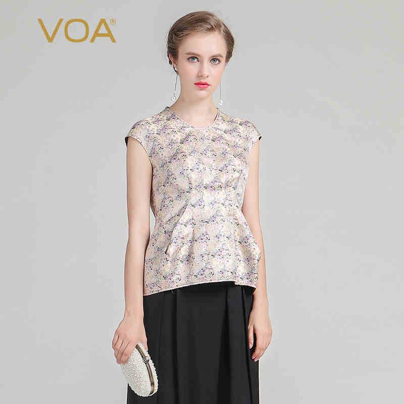 VOA 2018 летние шелковые жаккардовые короткий рукав Винтаж женские модные топы плюс Размеры элегантный бежевый принт тонкий офис футболка
