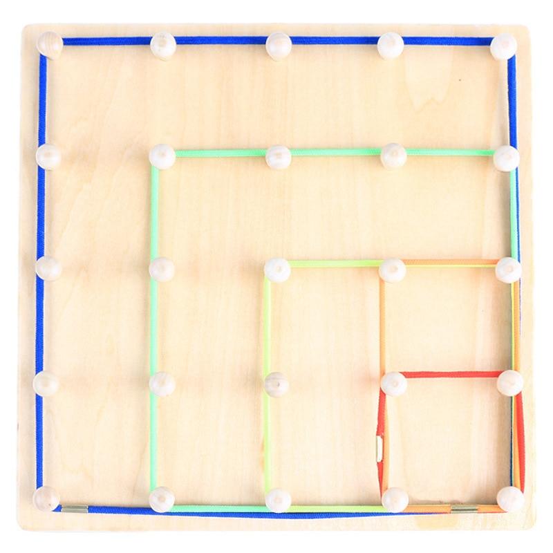 Nouveauté Montessori jouets en bois vent la corde sur les ongles en bois Math jouet éducatif bois ongles conseil ours conseil filetage plaque - 4