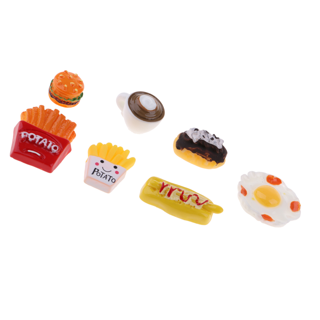 1/12 Dollhouse Dining Room Accessory Breakfast Models Mini French Fries And Coffee 7 Piece Children Toy