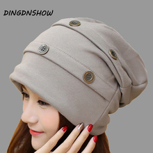 [HEAD BEE] Fashion Beanies Hat Cotton Buckle Skullies 2017 Winter Cap Knitted Ladies for Women