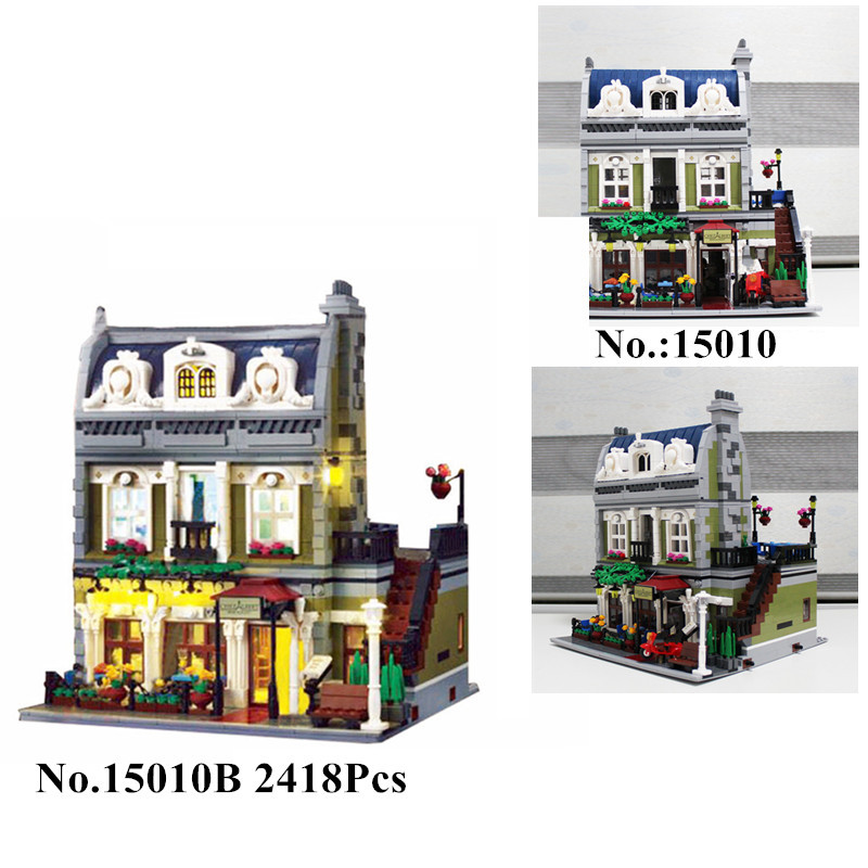 H HXY IN STOCK 2418PCS 15010 15010B Expert City Street Parisian Restaurant Model Building Kits Block
