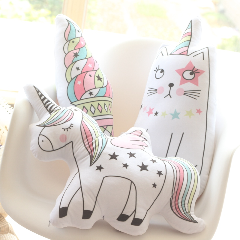 Kawaii Unicorn, One-horned Cat, Icecream Plush Pillow Cute Soft Animal Shaped Doll Baby Kids Bedroom Decoration Christmas Gift