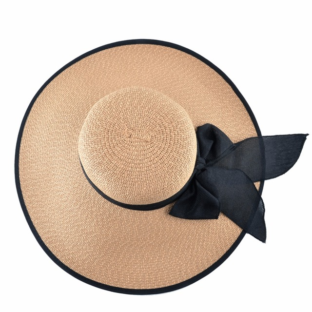 Fashion Straw Hat For Women Summer Casual Wide Brim Sun Cap With Bow-knot Ladies Vacation Beach Hats Big Visor Floppy Chapeau 4