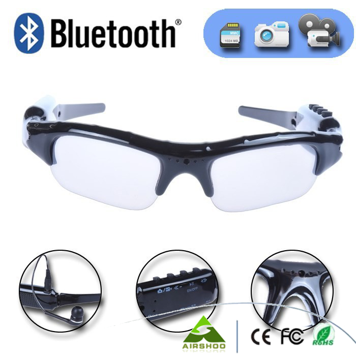 7afc6cb506 Sport Wireless Sunglasses Bluetooth Camera Eyewear Glasses Support TF Card  Video Recorder DVR DV Camcorder mp3 earphone-in Mini Camcorders from  Consumer ...