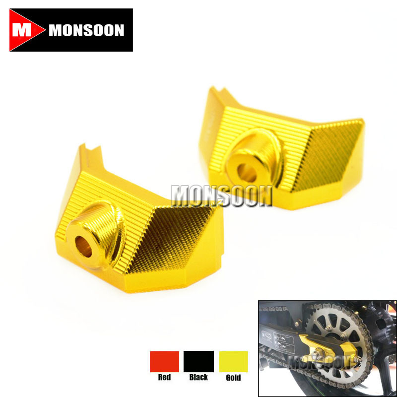 For Kawasaki Z800 Z 800 2013 2014 2015 Z 800 Motorcycle Accessories CNC Rear Fork Spindle Chain Adjuster Blocks Gold