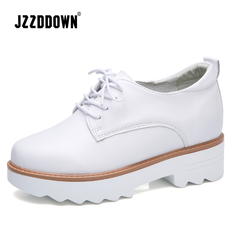 JZZDDOWN platform sneakers Genuine   Leather   shoes woman pig   suede   wedding shoes Ladies Lace Up loafers women White sneakers