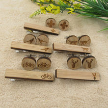 Wooden Cuff Cufflinks and Tie Clips set