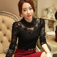 2015 New Women S Lace Shirt Slim Organza Lace Tops O Neck Long Sleeve Fashion Hollow