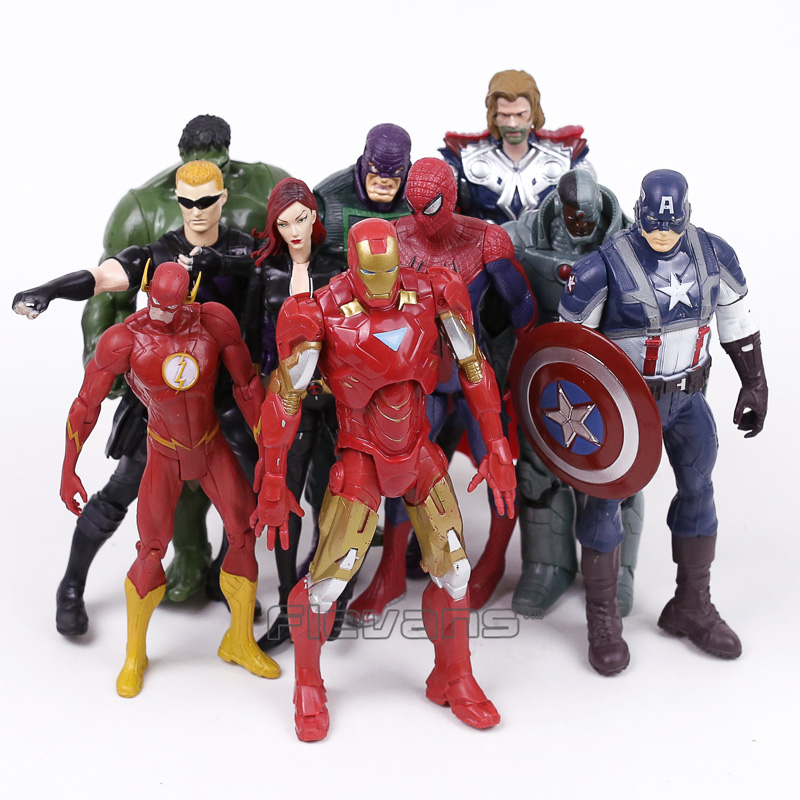 Marvel Superheroes Avengers Toys 10pcs/set Thor Iron Man Hulk Black Widow Hawkeye The Flash Spiderman PVC Action Figures 18cm marvel legends avengers civil war captain america iron man black widow black panther scarlet witch ant man pvc action figure toy