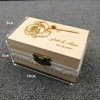Personalized Gift Rustic Wedding Ring Bearer Box Custom Name And Date Engraving Rose Flower Engrave Wood