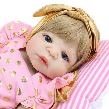 DOLL Reborn Baby 55cm silicone Vinyl Ann princess Lifelike blonde Fake Infant Educational Bath Toys Kids Playmate bebe gift Bone