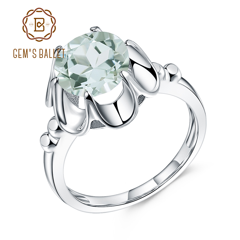 GEM'S BALLET 2.73Ct Natural Green Amethyst Engagement Ring For Women 925 Sterling Silver Gemstone Finger Rings Fine Jewelry