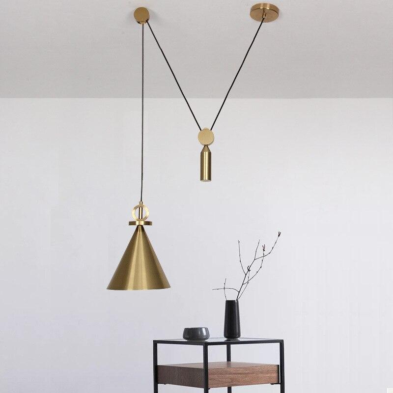 LuKLoy Suspension Brass Color Adjustable Pendant Light Pulley Bedside Hanging Lamp Hanglamp Bedroom Living Room Pendant