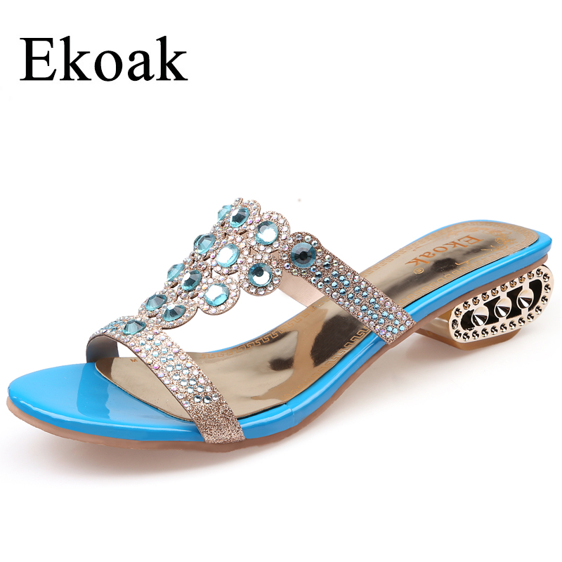 Ekoak Size 35-43 New 2017 Fashion Summer Party Shoes Woman Rhinestone Cut-outs Medium Heel Sandals Ladies Sexy Open Toe sandals capputine new summer sandals woman shoes 2017 fashion african casual sandals for ladies free shipping size 37 43 abs1115