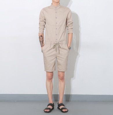 5fe6515f42b4 Men s Casual loose bib overalls Men s Streetwear jumpsuit Harem Cargo shorts  Korean Harajuku Hip hop Cargo
