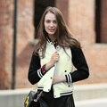Veri Gude Женщины Бомбардировщик Куртка Осень Куртка Бомбардировщика Пальто черно-Белый Контраст Цвета