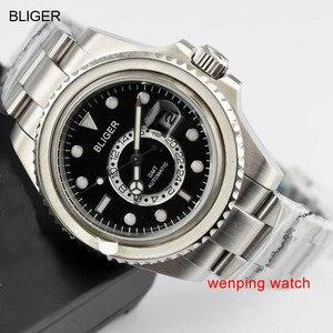 Image 4 - 1 шт. E2417 BLIGER 43 мм керамический черный стальной ремешок GMT функциональные часы автоматические мужские наручные часы