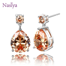 ФОТО nasiya high quality silver 925 jewelry citrine water drop earrings for women earring with golden yellow stone anniverary gift