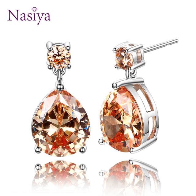 Nasiya High quality silver 925 jewelry Citrine water drop earrings for women Earring with golden yellow stone Anniverary gift -in Earrings from Jewelry & Accessories on Aliexpress.com | Alibaba Group