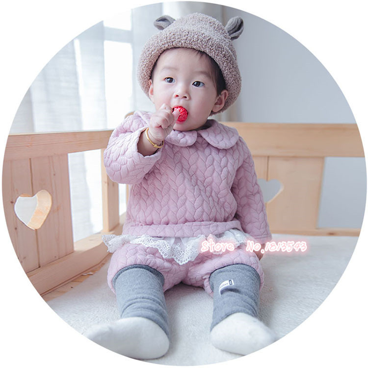 kids baby girls set New Autumn Winter baby thick outfits warm clothes two piece sets lace hem 3-24M baby wear new autumn sweet girls sets two piece cardigan outwear cape jacket long sleeve dress cotton lace kids girls clothes sets