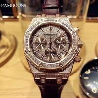 Luxury New Brand Mens Automatic Mechanical Rainbow Diamonds Stainless Steel Silver Rose Gold Black Classic Gent Wristwatch