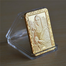 DHL free shipping 50pcs/lot, Hot sale Leonardo Da Vinci Mona Lisa1 oz 24k gold plated Jesus bullion bar Commemerate Bar