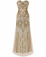 Glitter Woman 1950s Great Gatsby Dress Retro Art Deco Sequin Mermaid Party Long Gold Dress Robe