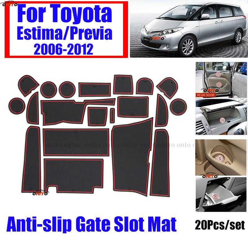 20pcs/set For TOYOTA ESTIMA/Previa 2006-2012 Car Anti-slip Silicone Grid Mat Covers Auto Protective Cup Mat Pad Cushion 3 Colors