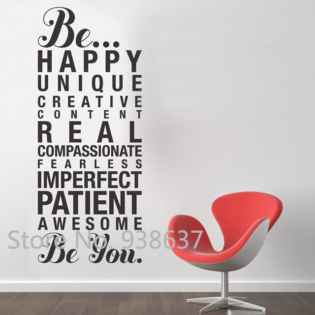 to be yourself wall stickers home decor living room positive quotes
