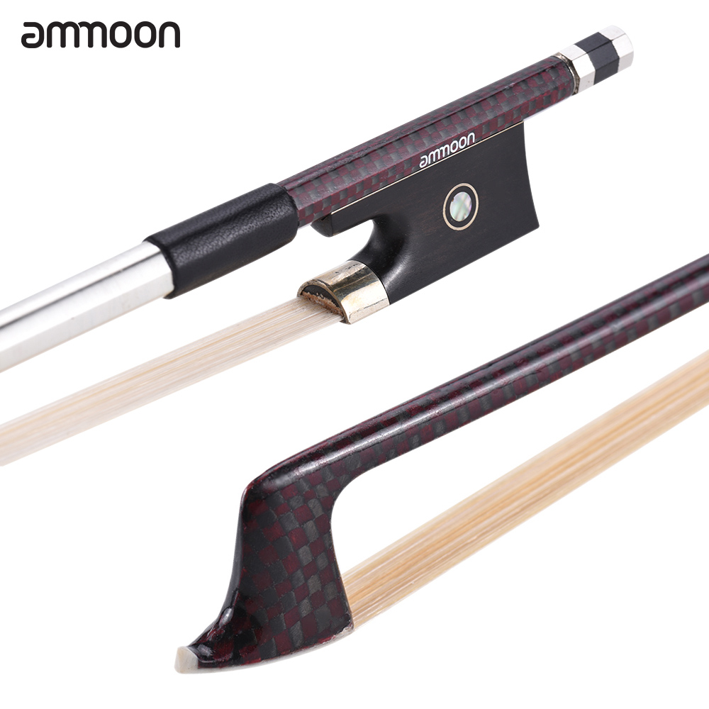 ammoon 4 4 Full Size Violin Bow Well Balanced Fiddle Bow Carbon Fiber Round Stick Exquisite