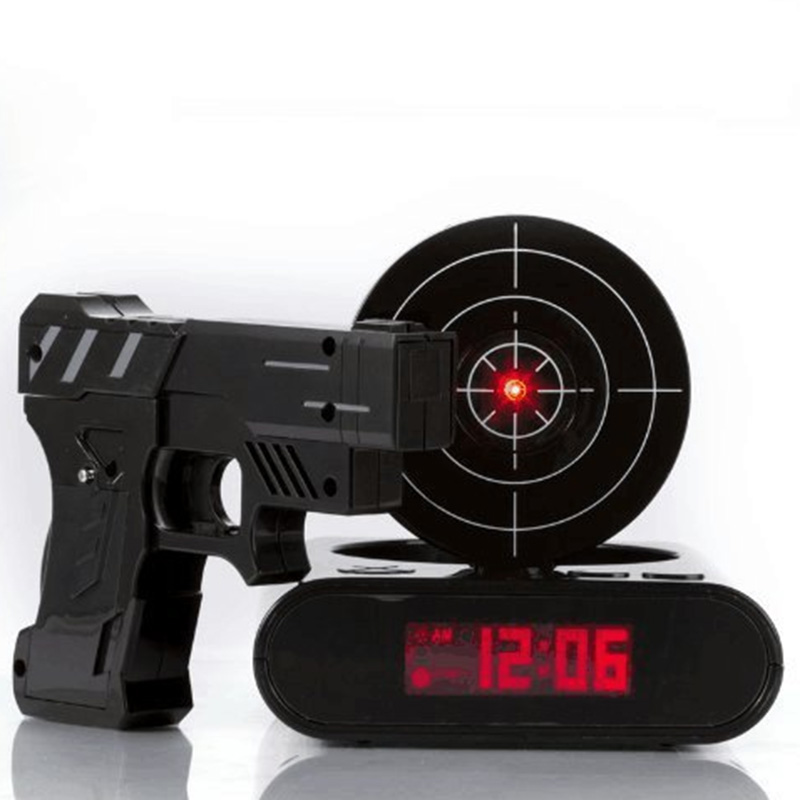 Laser Shooting Gun Alarm Gadget Target Desk Table Watch Clock Digital Electronic Nixie Clock Snooze Bedside 1 Set For Kids