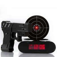 Laser Shooting Gun Alarm Gadget Target Desk Table Watch Clock Digital Electronic Nixie Clock Snooze Bedside 1 Set For Kids